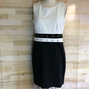 Calvin Klein Black/White Color Block Knit Dress